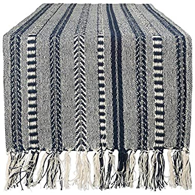 DII Braided Cotton Table Runner Perfect for Summer, Holiday Parties and Everyday Use, 15x72 , Navy Blue