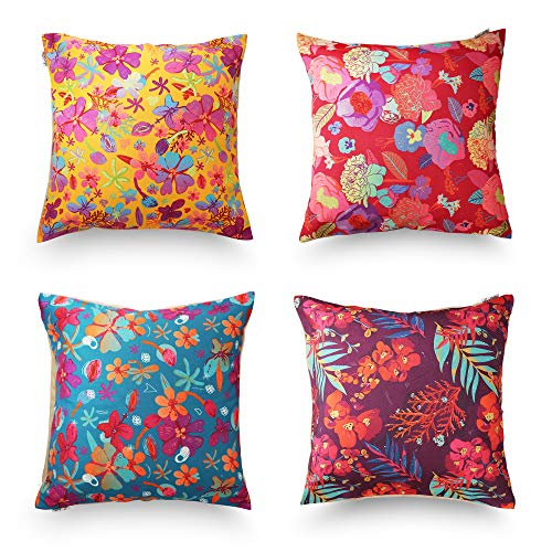 decoJungle Tropical Throw Pillow Covers & Protector, Set of 4, 18''x18'' (45cm) - Floral/Flower/Leaf Printed Design Square Covers for Sofas, Couches, Chairs or Beds-Zipper Closure - Velvet and Canvas