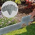 Garden Plastic Fence Edging - 20Pcs Lawn Edging Plant Border Decorative Flower, Tree, Grass for Garden Patio Landscape Walkways (Dark Grey)
