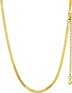 GOLDCHIC JEWELRY Flat Chain Necklace,Stainless Steel 3mm/5mm Snake Chain Herringbone Choker Necklaces for Women in Gold/Si...