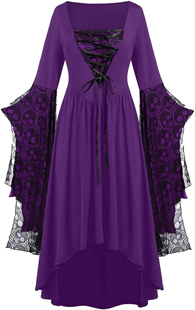 Halloween Dresses for Women Max 82% OFF Vintage Spring new work Lace Pat Sleeve Bell Up Mesh