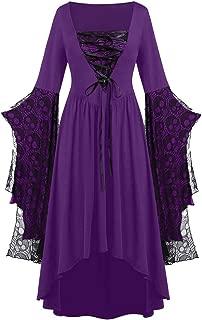 Halloween Dresses for Women Long Sleeve Print High Low Slim Fit Swing Dress