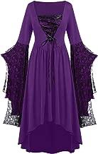 VOWUA Womens Medieval Dresses Retro Plus Size Vintage Lattice Lace Up Patchwork Long Sleeve Midi/Maxi Dress