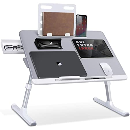 Laptop Bed Tray Desk, SAIJI Adjustable Laptop Stand for Bed, Foldable Laptop Table with Storage Drawer for Eating, Working, Writing, Gaming, Drawing (Gray, X-Large)