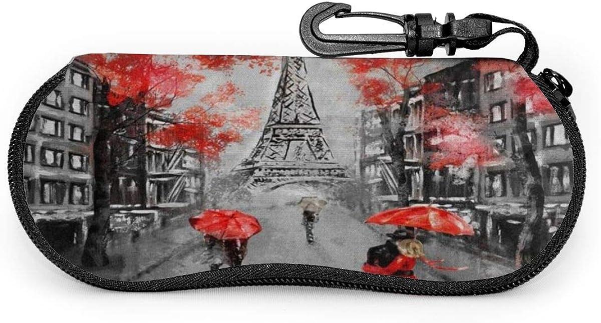 France Paris Eiffel Tower Valentine's Day Sunglasses Soft Case Ultra Light Neoprene Zipper Eyeglass Case With Key Chain