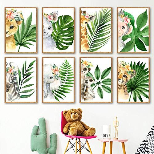 YDGG Plant blad zebra olifant AFFE dier muurkunst canvas schilderij poster afdrukken kleuterschool foto's kinderkamer decoratie 21x30cmx8 stuks geen lijst