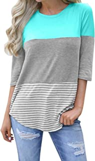 Womens 3/4 Sleeve Back Lace Color Block Tops Round Neck Striped T-Shirts Blouses