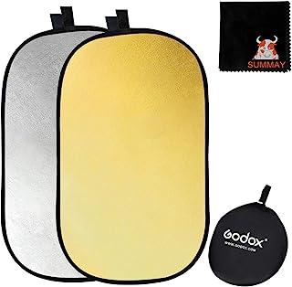 【Godox正規代理店】GODOX 撮影用 楕円 レフ板 100x150cm 1枚2役 金銀色 折りたたみ式ポータブル 収納ポーチ付き スタジオ撮影 屋外撮影 写真撮影 商品撮影 人物撮影に適用