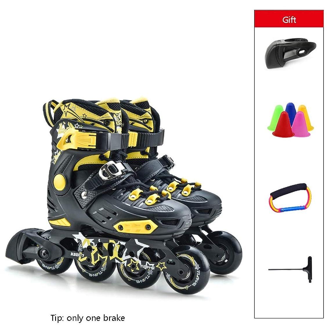強化する抑止するカリキュラムインラインスケート スポーツインラインスケート、高性能のプロ用ローラースケート、初心者から初心者までのスピードスケート靴単列スケート (Color : Black, Size : L 36-39)