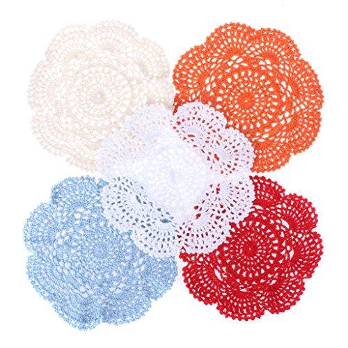 SHOTAY BENGKUI Cup Coaster, 20cm Colorful Cup Sottobicchieri Centrino di Pizzo Fiore all'Uncinetto Fatto a Mano in Cotone Vintage