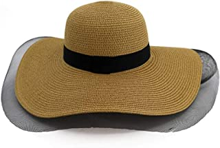 Summer hat Straw Hat Seaside Outdoor Beach Big Sun Hat Elegant Mesh Sunscreen Shade Travel Furious Big Edge Nerveless Hat hat (Color : Coffee, Size : 56-58CM)