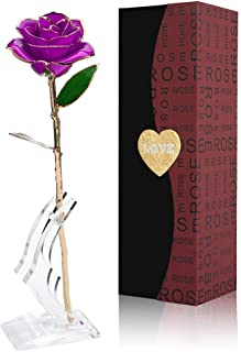 Gold Rose 24K Artificial Flowers, Forever Gold Plated Rose Dipped Rose with Transparent Stand Best gift for Lover, Mother, Girlfriend, Valentines Day, Mothers Day, Anniversary, Wedding, Birthday Gift