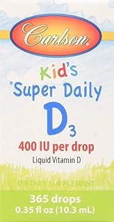 Carlson - Baby's Super Daily D3, Baby Vitamin D Drops, 400 IU (10 mcg) per Drop, Vegetarian, Liquid Vitamin D Drops, Unfla...