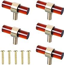 QERMULA Creatieve 5 Set Kabinet Knoppen T Bar Glas Messing Moderne Lade Trekt Blauw/Chocolade/Paars/Roze/Lucency/Groen/Gou...