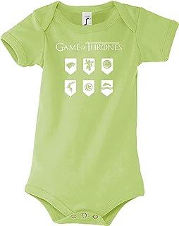Youth Designz Baby Jungen & Mädchen Kurzarm Body Strampler Modell Thrones Game Wappen, Größe 3-24 Monate in vielen Farben
