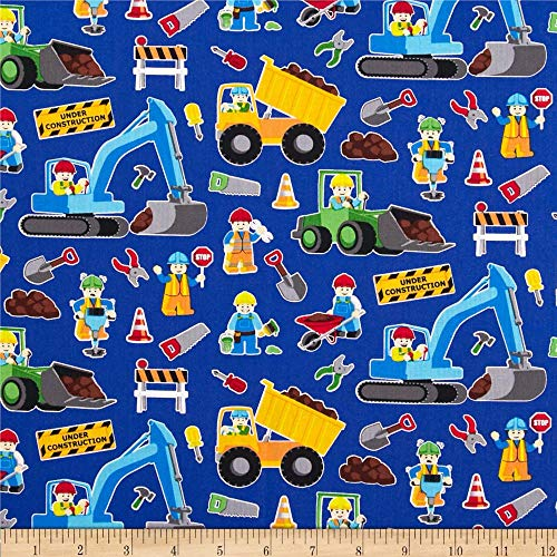 Timeless Treasures 0344973 Construction Zone Quilt Fabric By The Yard, Royal