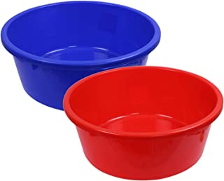 Kuber Industries 2 Pieces Unbreakable Multipurpose Bath Tub 40 Ltr (Blue & Red) -CTKTC25006