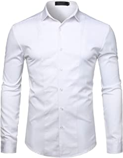 WHATLEES Mens Hipster Casual Slim Fit Long Sleeve Button Down Dress Shirts Tops with Embroidery