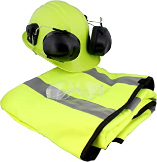"""Felled   Chainsaw Safety Gear – 37"""" Inch Chaps, Safety Helmet Hard Hat with Ear Protection & Mesh Face Shield & Glasses"""