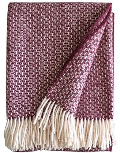 Plaids & Co - Coperta in lana vergine al 100% dalla Nuova Zelanda, plaid con frange, 140 x 200 cm (melanzana.Doris)