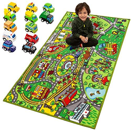 JOYIN Tapis de jeux avec 12 voitures à tirer pour enfants à partir de 3 ans Tapis Circuit Grand Tapis de Jeux dans la Salle de Jeux