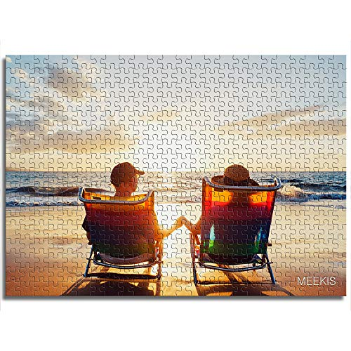 1000 piezas Pareja viendo el mar en sillas de terraza, rompecabezas de impresión digital HD