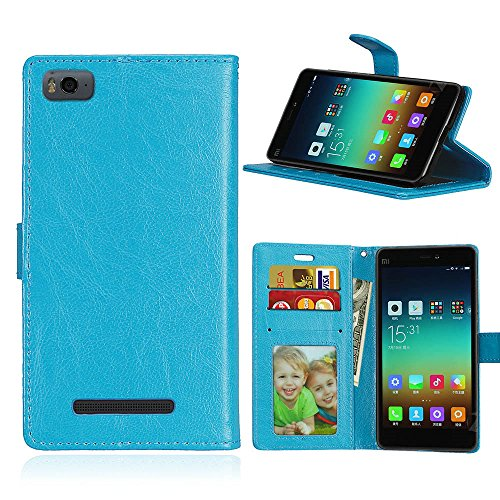 Xiaomi Mi 4I/Mi 4C Case, SATURCASE Luxury Smooth PU Leather Flip Magnet Wallet Stand Card Slots Protective Case Cover for Xiaomi Mi 4I/Mi 4C (Blue)