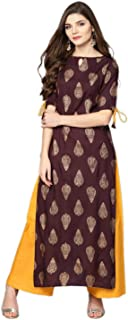 UrbanEra Women's Designer Brown Foil Print Long Length Cotton Kurta with Solid Palazzo - (Kurta Palazzo Set)