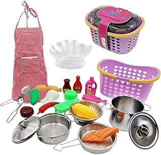 TOYMYTOY キッチンプレイセットプラスチックシミュレーション野菜フルーツエプロンハット調理玩具子供ままごと1セット