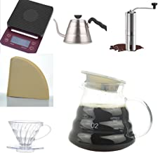 Professional Coffee Set V60 Digital Scale.1L Stainless Steel Mug.Stainless Hand Coffee Grinder.40 Filters.Coffee Filtering...