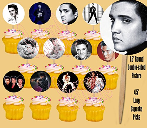 Party Over Here Elvis Presley 12 Images Cupcake Picks Cake Topper King of Rock and Roll - 12 pcs