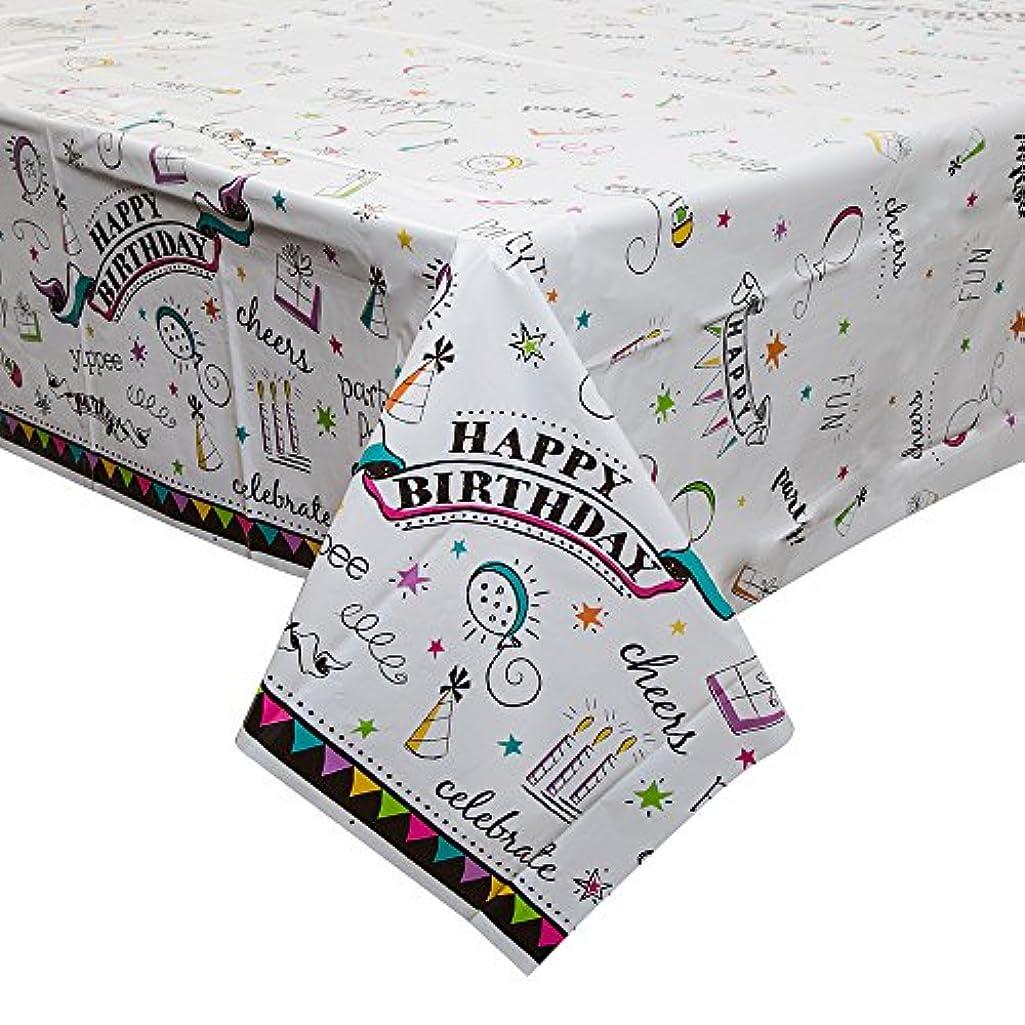 Doodle Happy Birthday Plastic Tablecloth, 84