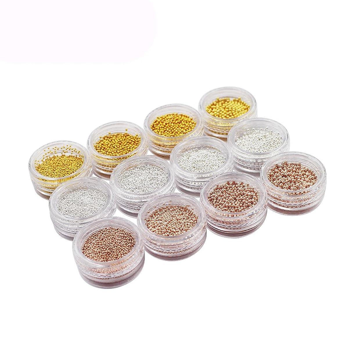 本物フレア発音メーリンドス ネイル3dデザインパーツ ネイルブリオン ゴールド&シルバー&バラゴールド 0.8/1.0/1.2/1.5mm 4サイズ3色 12本セット