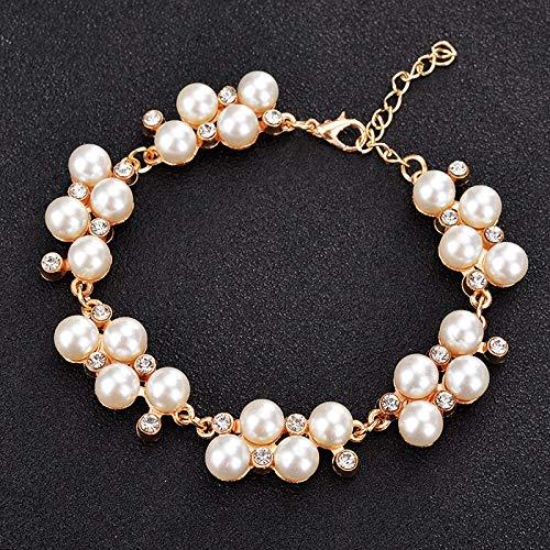CLEARNICE Pulsera de Cuentas de Perlas simuladas para Mujer, Pulsera de Cristal con Diamantes de imitación a la Moda, Brazalete para Mujer, joyería de Boda
