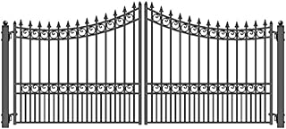 ALEKO DG12MOSD Moscow Style Dual Swing Galvanized Steel Driveway Security Gate 12 x 6 Feet Black