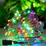 Arccqi [33 pies Cadena de Luces de Navidad Impermeable con 4 Colores (Rojo, Azul, Verde, Amarillo)