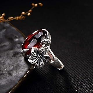 Lozse Anelli regolabili S990 argento gemma prugna femmina fiore foglia Anello