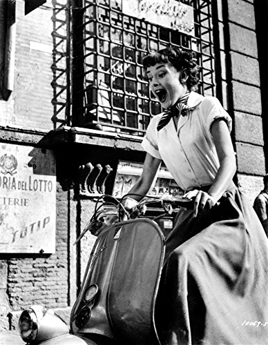 Audrey Hepburn Roman Holiday Riding Vespa Photo Print (8 x 10)