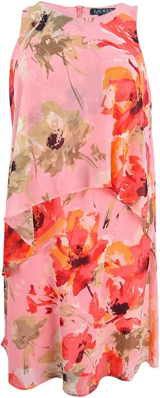 Lauren Ralph Lauren Womens Petites Floral Print Ruffled Sundress