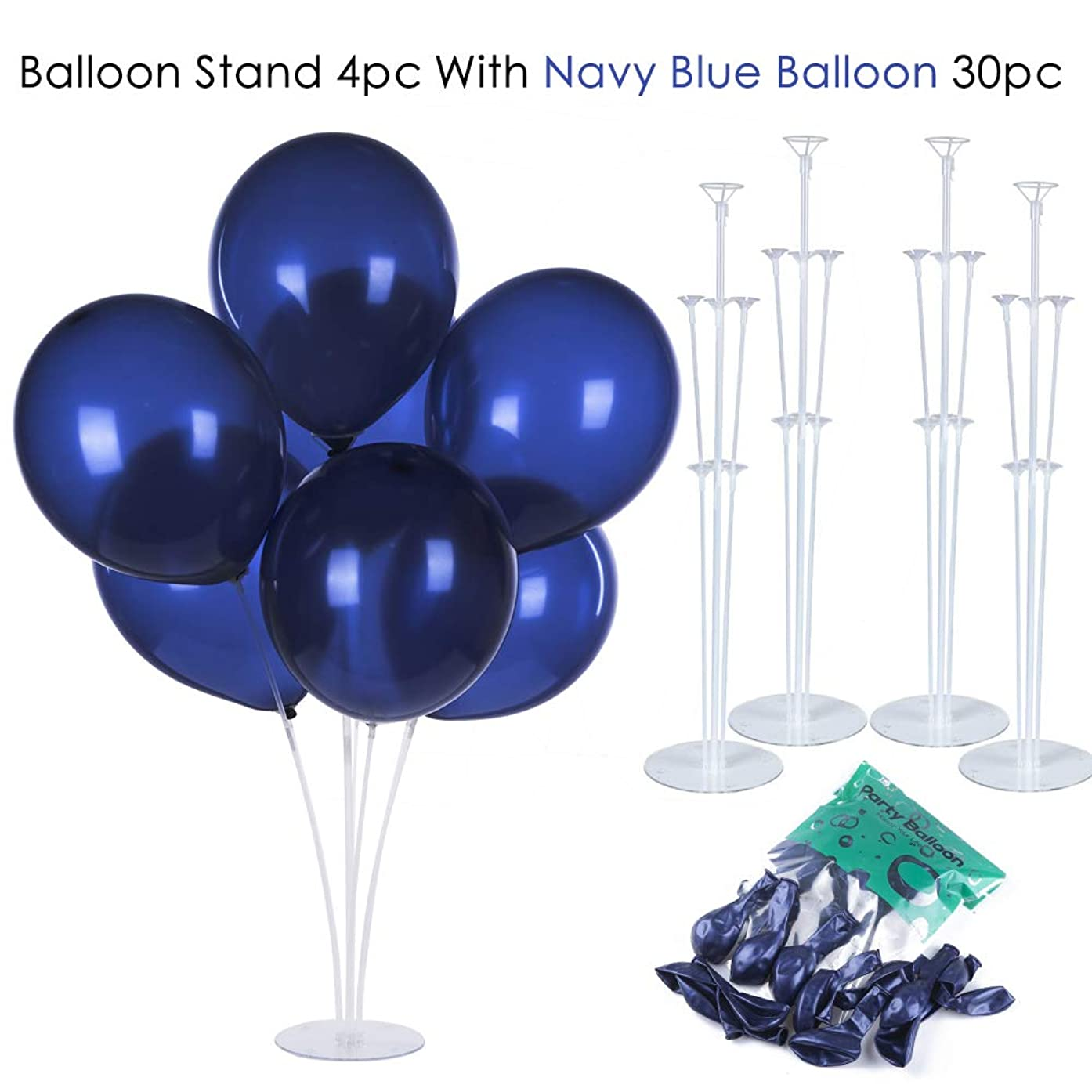 ZOOYOO Balloons Column Stand 4pcs Reusable Clear Balloon Holder with 30 Navy Blue Balloons, Table Balloon Stand Kit for Any Occasions Party Decorations