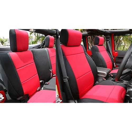 for 13-18 Jeep Wrangler JK 2-Door Rough Country 91007 Black Neoprene Seat Cover Front//Rear Renewed