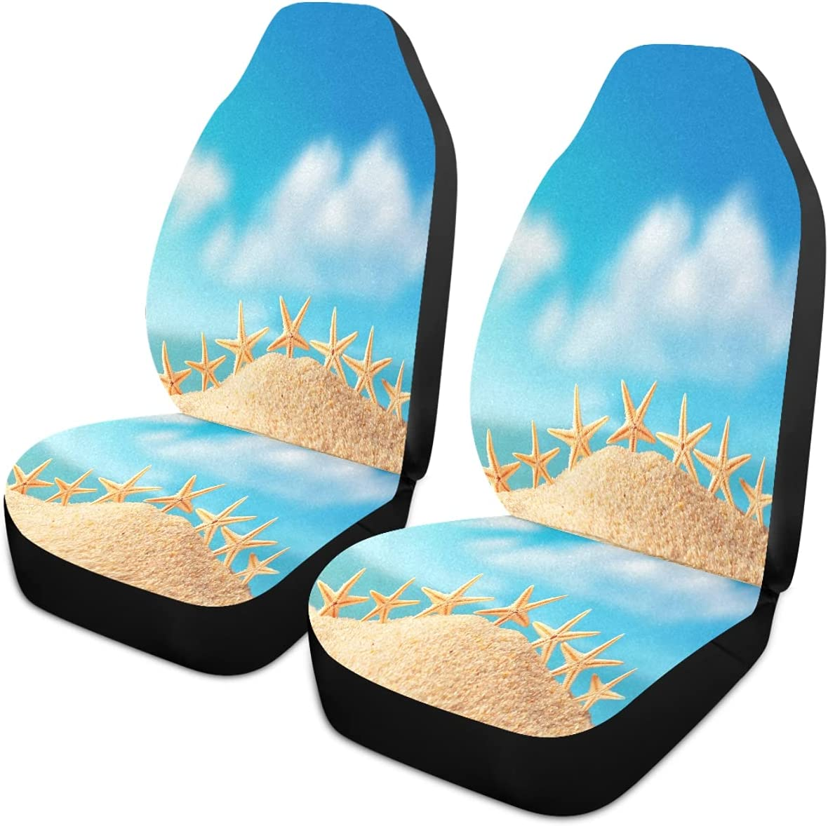 Oarencol Starfish Beach Sandy Sacramento Mall Blue Elegant Universal Car Sky Covers Seat