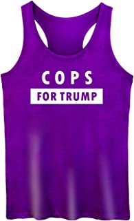 GROWYI Funny Workout Tank Tops Racerback for Women with Saying Cops for Trump Political Fitness Gym Sleeveless Shirt