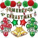 Globos de Navidad Rojo Verde, Ronege Supplies Set DIY Globo Arco Guirnalda Feliz Navidad Globos Banner con Papá Noel y Muñeco de Nieve Globo de Aluminio para Navidad
