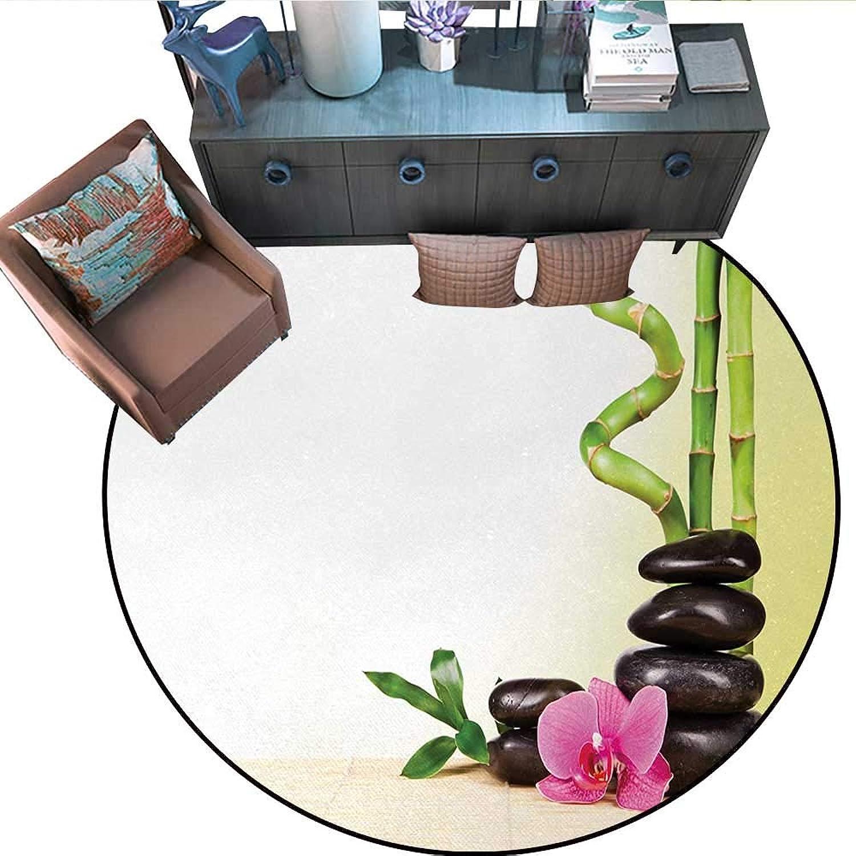 Spa Round Floor Cover Calm Life Theme Relax Symbol Bamboo Sprouts Rocks Asian Meditative Zen Concept Door mat Indoors Bathroom Mats Non Slip (67  Diameter) Multicolor