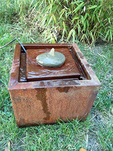 Zen Man Corten Steel Garden Fountain 30 x 30 x 15 cm Patina Garden Water Feature with Stone Approx. 1.7 mm Corten Steel 4.35 kg Handmade 032038