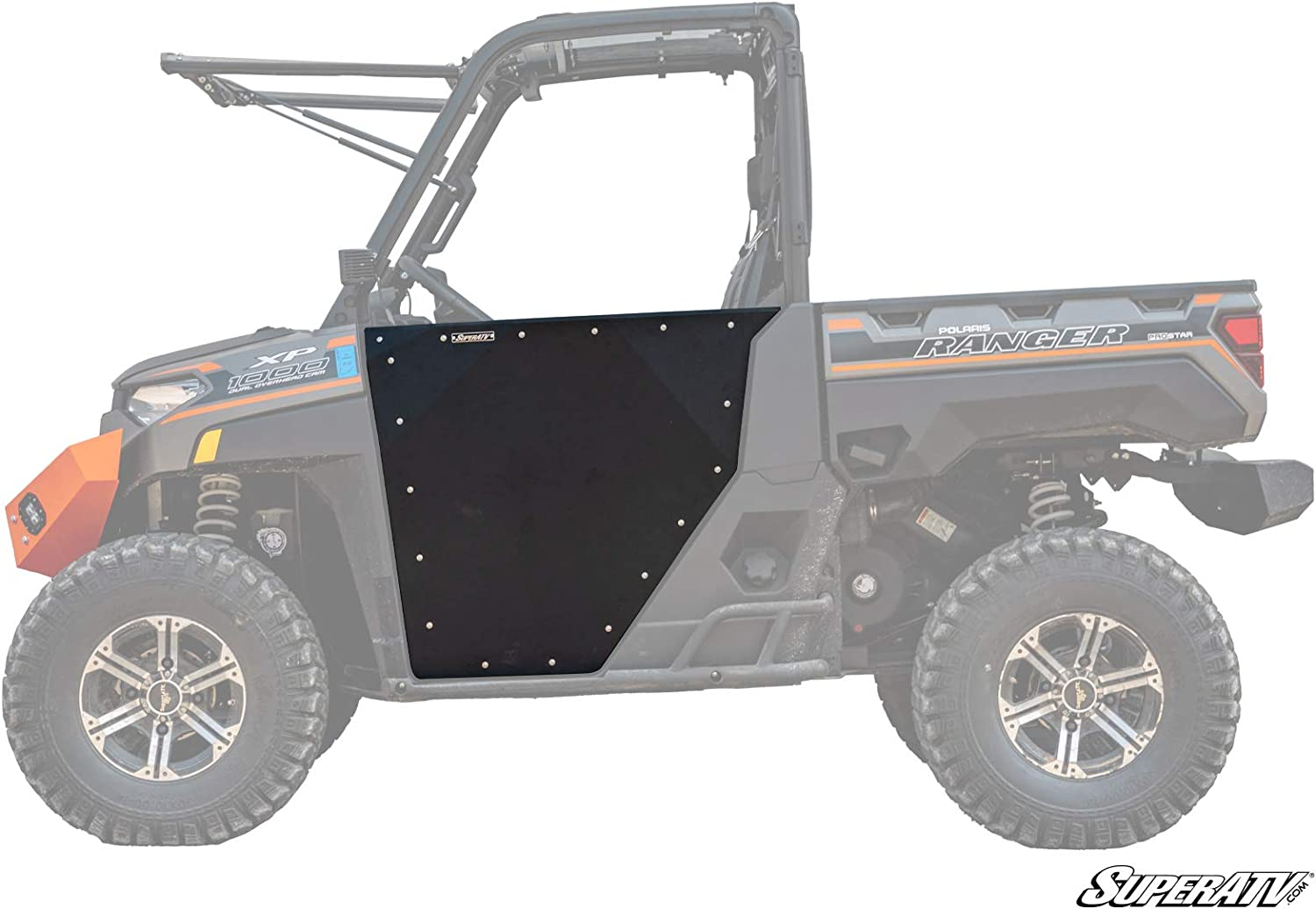 SuperATV Aluminum Doors for Polaris Ranger 1000 / XP 1000 (See Fitment) | Powder Coated Black | Made with Lightweight Multi-Blend Aluminum | Automotive Style Latch | Ideal Height for Comfortable Ride