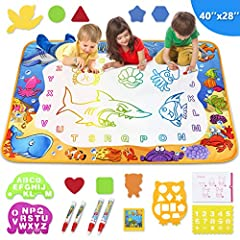 Water Drawing Mat:Large Size.Sea world pattern.Be easy to use.Can be folded into the compact size.Portable for indoor outdoor and travel.A great learning toy for toddlers.A good interaction toy for boys and girls. Drawing Mat Size: 40 x 28 inch. Pack...