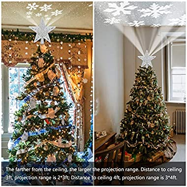 YOCUBY Star Christmas Tree Topper Lighted with Built-in Rotating Magic Ball, Christmas Decoration, LED Treetop Projector for