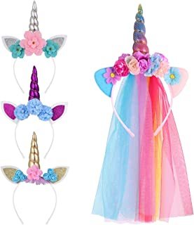 Unicorn Costume Fascia Per Capelli Bambina CORNO e orecchie Bianco Rosa Carino Morbido Peluche